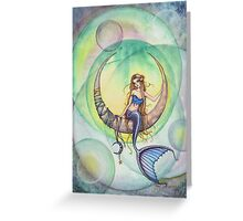 Cobalt Moon Mermaid and Crescent Moon Illustration Greeting Card