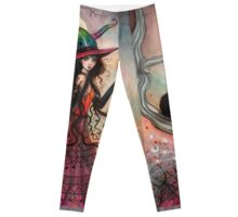 October Flame Witch Cat Halloween Fantasy Art Leggings