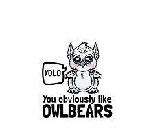 YOLO - You Obviously Love Owlbears (Wee Beasties - Snowy Wee Owlbear) by whimsyworks