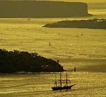 Heading out through the Sydney Heads at sunrise by Rod Thompson