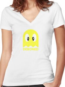 Deboned ghost - YELLOW Women's Fitted V-Neck T-Shirt