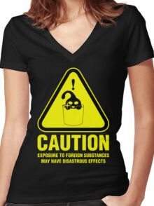 Suu Hazard Sign, Mischievous Version (English text, for dark backgrounds) Women's Fitted V-Neck T-Shirt
