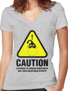 Suu Hazard Sign, Mischievous Version (English text, for light backgrounds) Women's Fitted V-Neck T-Shirt