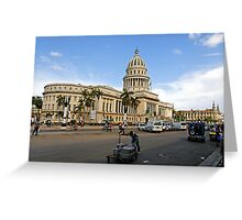 Capitolio street scene, Havana, Cuba Greeting Card