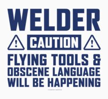 Caution Welder by Albany Retro