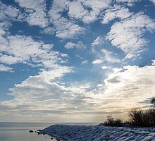 Cirrocumulus Clouds and Sunshine - Lake Ontario, Toronto, Canada by Georgia Mizuleva