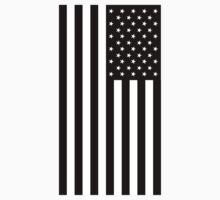 American Flag, mourning, in Black, Stars & Stripes, USA, America, Americana, Portrait, Black on White Kids Clothes