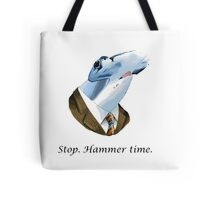 Funny stop hammer time shark parody Tote Bag