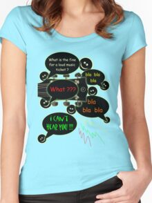 Loud music ticket cartoon Women's Fitted Scoop T-Shirt