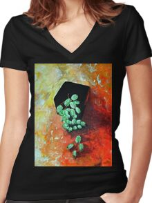 Black Vase with Grapes Women's Fitted V-Neck T-Shirt