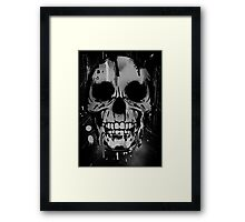 Cool Skull with Paint Drips - Black and White Framed Print