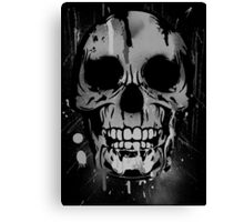Cool Skull with Paint Drips - Black and White Canvas Print