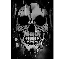 Cool Skull with Paint Drips - Black and White Photographic Print