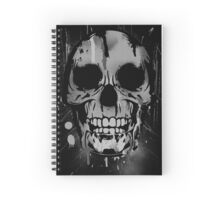 Cool Skull with Paint Drips - Black and White Spiral Notebook