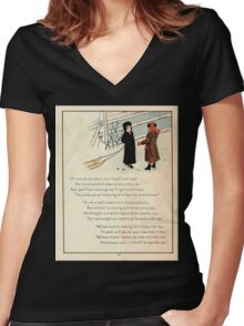 The Glad Year Round for Boys and Girls by Almira George Plympton and Kate Greenaway 1882 0052 Freezing Wind Blows Women's Fitted V-Neck T-Shirt