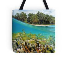 Coral reef fish underwater and coconut trees Tote Bag