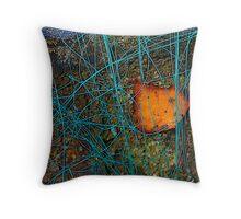 Blue String/Leaf Throw Pillow
