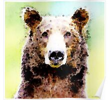 Abstract Brown Bear Art - Curious Poster