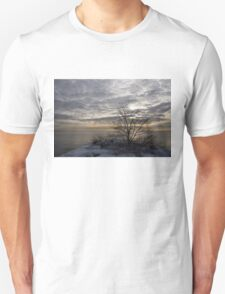 Early Morning Tree Silhouette on Silver Sky T-Shirt