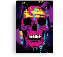 Cool Colorful Skull with Paint Splatters and Drips Canvas Print
