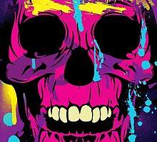 Cool Colorful Skull with Paint Splatters and Drips by Denis Marsili - DDTK