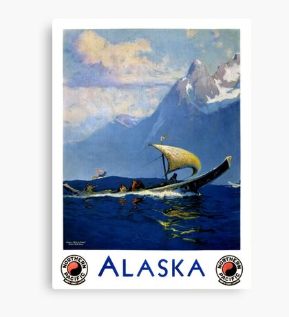 Alaska Vintage Travel Poster Restored Canvas Print