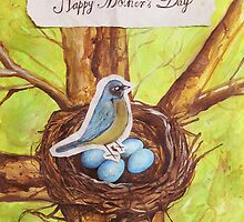 Happy Mothers Day (Blue Robin) by Carrie Jackson