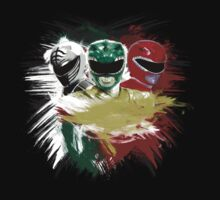 White,Green,Red Rangers One Piece - Long Sleeve