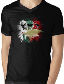White,Green,Red Rangers Mens V-Neck T-Shirt