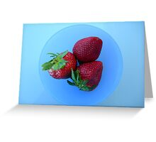Strawberries in a blue bowl Greeting Card