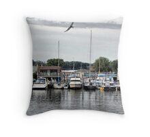 South Haven Marina Throw Pillow