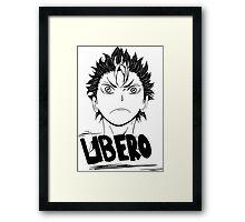 Nishinoya Haikyuu Libero Outline Vector Design Framed Print