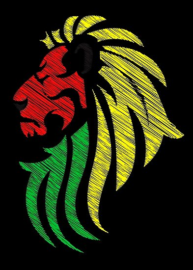 lion reggae colors cool flag vector art posters by