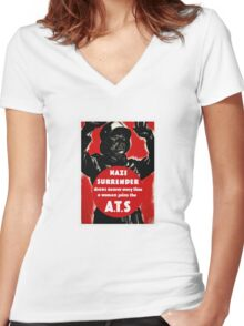 Join The A.T.S. -- WWII Propaganda Women's Fitted V-Neck T-Shirt