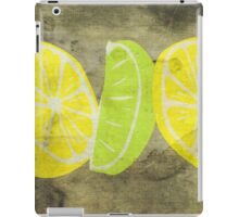 Pop Art Lemon Lime with Canvas Texture and Stains - Prints iPad Case/Skin