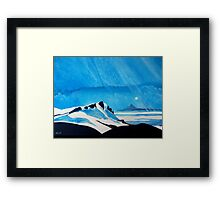 """Shining Down Like Water"" - Taranaki from Ruapehu Framed Print"