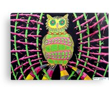 419 - BLING OWL - DAVE EDWARDS - COLOURED PENCILS - 2015 Canvas Print