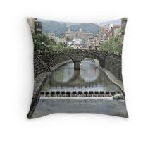 Nagasaki Meganebashi (Bridge of Spectacles) Throw Pillow
