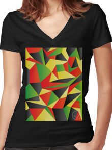 Polygon Crazy  Women's Fitted V-Neck T-Shirt