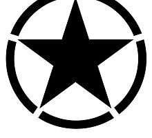 Army Star & Circle, Jeep, War, WWII, America, American, USA, in Black by TOM HILL - Designer