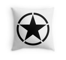 ARMY, Army Star & Circle, Jeep, War, WWII, America, American, USA, in Black Throw Pillow