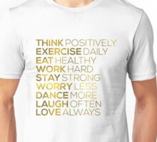 Think Positively Gold Foil Quote Unisex T-Shirt