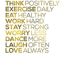 Think Positively Gold Foil Quote by hopealittle