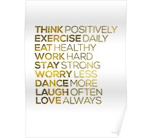 Think Positively Gold Foil Quote Poster