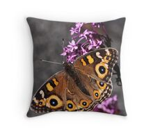 Butterfly on flowers at end of ramp 20100417 0672  Throw Pillow