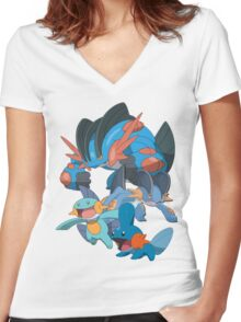 mudkip's family Women's Fitted V-Neck T-Shirt