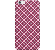 Wine Red And White Floral Quatrefoil  iPhone Case/Skin