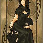 Poker Art Nouveau: 'Queen of Spades' by ArtNouveau