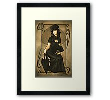 Poker Art Nouveau: 'Queen of Spades' Framed Print