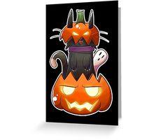 Jack O' Lantern Cat Greeting Card